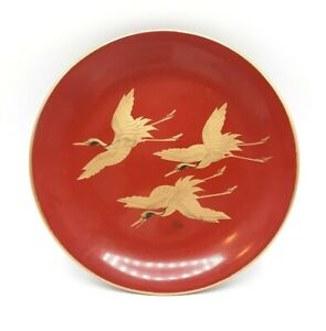"""Vintage Japan Red Lacquer Plate with 3 Gold Flying Cranes 6.75"""""""