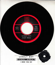 "PAUL ANKA  Lonely Boy & I Miss You So 7"" 45 rpm record NEW + jukebox title strip"
