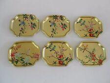 Vintage Set of 6 Elite Serving Trays England 7.5 x 6 Gilt with Birds & Blossoms