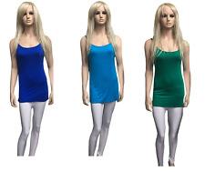 Ladies Girls Plain Stretch Tops Long Strap Sleeveless Cami Vest Tank Top 8-14 Red 2xl