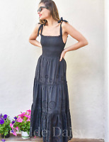 ZARA NEW BLACK STRAPPY LONG MIDI DRESS CUTWORK EMBROIDERY FLORAL SIZE XS-XXL