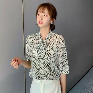 Women`s Turn Down Collar Short Sleeve Polka Dot Blouse Ladies Office Work Shirt
