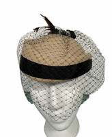 Vintage Geo W Bollman Beige Womens Hat with Feathers and Netting Doeskin Wool