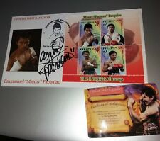MANNY PACQUIAO STAMPS FIRST DAY COVER SIGNED AUTO W/ COA INSCRIPTION rare