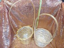 Wicker Woven Baskets Easter Planter Hanging Plastic Lined
