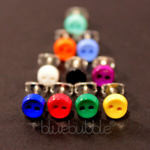 FUNKY BOYS MENS SINGLE STUD 6mm BUTTON EARRING ROCK GOTH EMO INDIE 80s COOL FUN