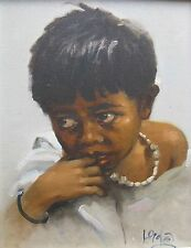 "VICTOR C. LOYOLA PHILIPPINES OIL ON CANVAS ""YOUNG BOY PORTRAIT"" C 1960"