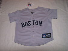 MLB Boston Red Sox Grey Road Kids Baseball Majestic Jersey Sz 24M NWT