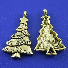 10pcs dark gold-tone christmas tree charms h2354