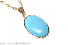 9ct Gold Turquoise oval Pendant and Chain Gift Boxed necklace Made in UK