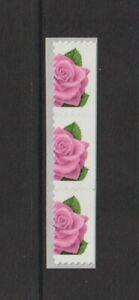 US EFO, ERROR Stamps: .33 Rose, Flower. Die cut shift booklet strip of 3. MNH