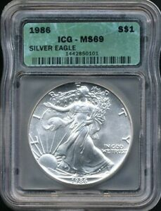1986 $1 ASE American Silver Eagle ICG MS 69 *1st Year Of Issue - Better Date!*