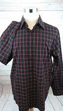 Michael Kors Long Sleeve Plaid Red Black Men's Button Shirt Size XL - B8