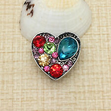 NEW Rhinestone Heart Charm Chunk Snap Button fit for Noosa Bracelet IPO09