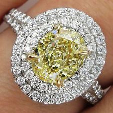 Certified 3CT Yellow Oval Cut Diamond Glorious Bridal Wedding Ring 14K WhiteGold