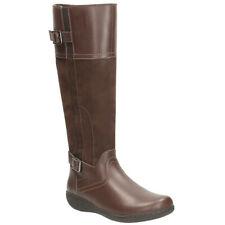 Clarks Ladies Knee-High Boots FIANNA PHOENIX Dark Brown Combi UK 4 / 37 RRP £100