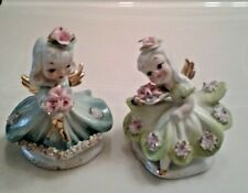 "(2)Vintage Lefton Angel Figurines Saturday's Child & Thursday's Child 4.5"" Tall"