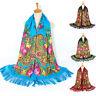 New Women Folk-Custom Print tie Tassel Square Scarf Wrap Shawl Travel Scarve