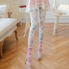 White Stockings Cartoon Printed Harajuku Velvet Pantyhose For Girls Women