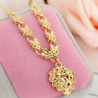 New Fashion Gold Plated Copper Hollow Link Chain Necklace Heart Pendant Jewelry