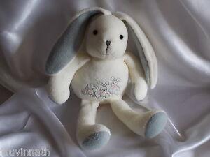 Doudou lapin blanc et gris, polaire , Anna Club Plush