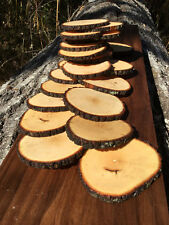 "Lot 50 Rustic Natural Wood Coasters 4-4.5"" Round Slices ~Craft Handmade USA bulk"