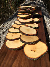 "Lot 25 Rustic Natural Wood Coasters 4-4.5"" Round Slices ~Craft Handmade USA bulk"