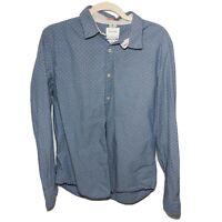 Cactus Man Ricky Singh Blue Polka Dot Button Down Shirt Size Medium Slim Fit