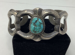 """Old Pawn Sterling Silver Sand Cast Turquoise Cuff Bracelet 5 1/2"""" (56.2g)"""