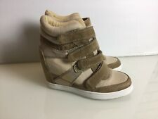 Aldo Inner Wedge High Top Trainers In Beige & Gold. Excellent Cond. UK5. VGC