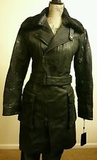 RALPH LAUREN WOMENS BLACK LABEL DENIM TRENCH COAT SPANISH SHEARLING COLLAR SZ 6