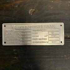 1945 - 1952 VW Volkswagen VIN Name ID Plate Split Beetle Bug Zwitter T1 Type 1