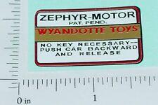 Wyandotte Zephyr Motor Replacement Sticker       WY-033