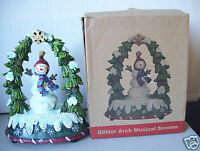 "Glitter Arch Musical Snwmn Snow Man 6"" Tall Figurine Good Condition"