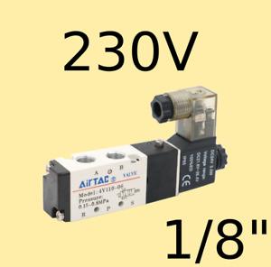 "Pneumatik Ventil 5/2 Wege 230 Volt 1/8"" 1,5-8Bar 5/2 Wegeventil Magnetventil 524"