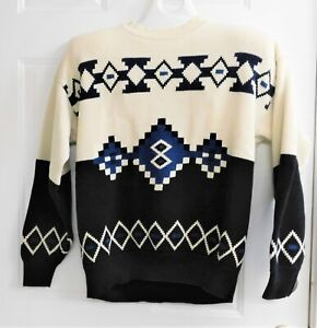 London Fog Sweater L 100% Cotton Cream Black Design with Blue Accent Color