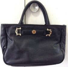 Tory Burch Horsebit Jaden Black Pebbled Leather Satchel Shoulder Bag Pre Owned