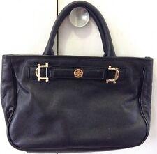 Tory Burch Horsebit Jaden Black Pebbled Leather Satchel Shoulder Bag Pre Owned