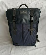 """Victorinox Classic Deluxe Flapover Laptop Backpack. Navy. H17"""" × W12"""" × D6""""."""