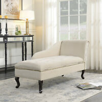 Nailhead Trim Storage Chaise Lounge Chair Tufted Couch Fold Open Lid, Beige