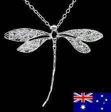 925 Sterling Silver Dragonfly Pendant & Chain Necklace Gift Women Pretty Jewelry