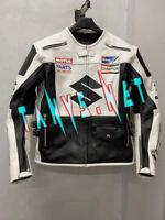 Leather Jacket Suzuki Motorcycle Racing Men Motorbike Black Cowhide White New