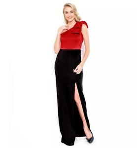 Authentic Blacksheep Brand Asymmetrical Long Gown Dress | Color Red w/ Black
