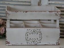 French Grey Vintage Chic Bottle Crate Antique Style Shabby Paint Holder Lace Dec