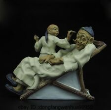 Chinese Pottery Wucai Porcelain Art Home Decoration Child Play Statue Sculpture