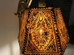 Vintage Mission Arts & Crafts Hand Painted Mica Lamp Shade