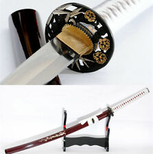 FULL TANG KATANA DAMASCUS CLAY TEMPERED SAMURAI SWORD SEASHELL SAYA BATTLE SHARP
