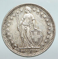 1940 SWITZERLAND -  HELVETIA Symbolizes SWISS Nation SILVER 2 Francs Coin i90736