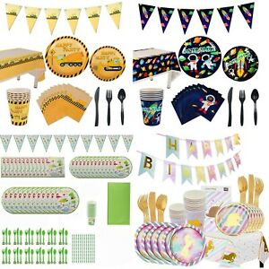 Polka Dot Sky Kids Birthday Party Decorations Themed Paper Tableware Set Pack
