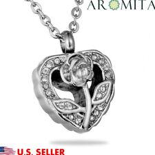 Crystal Rose Heart Cremation Jewelry Keepsake Memorial Urn Necklace Ash Holder